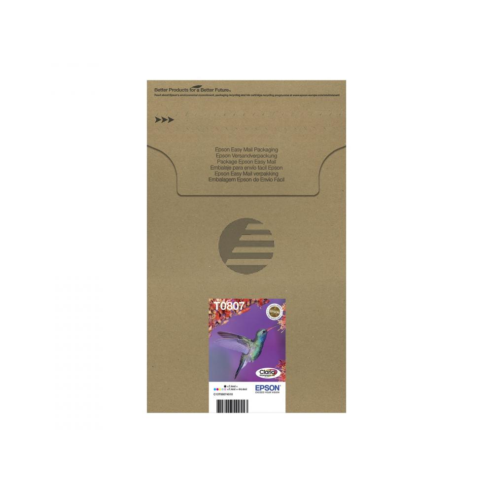Epson Tintenpatrone gelb, cyan, cyan light, magenta, magenta light, schwarz (C13T08074510, T0807)