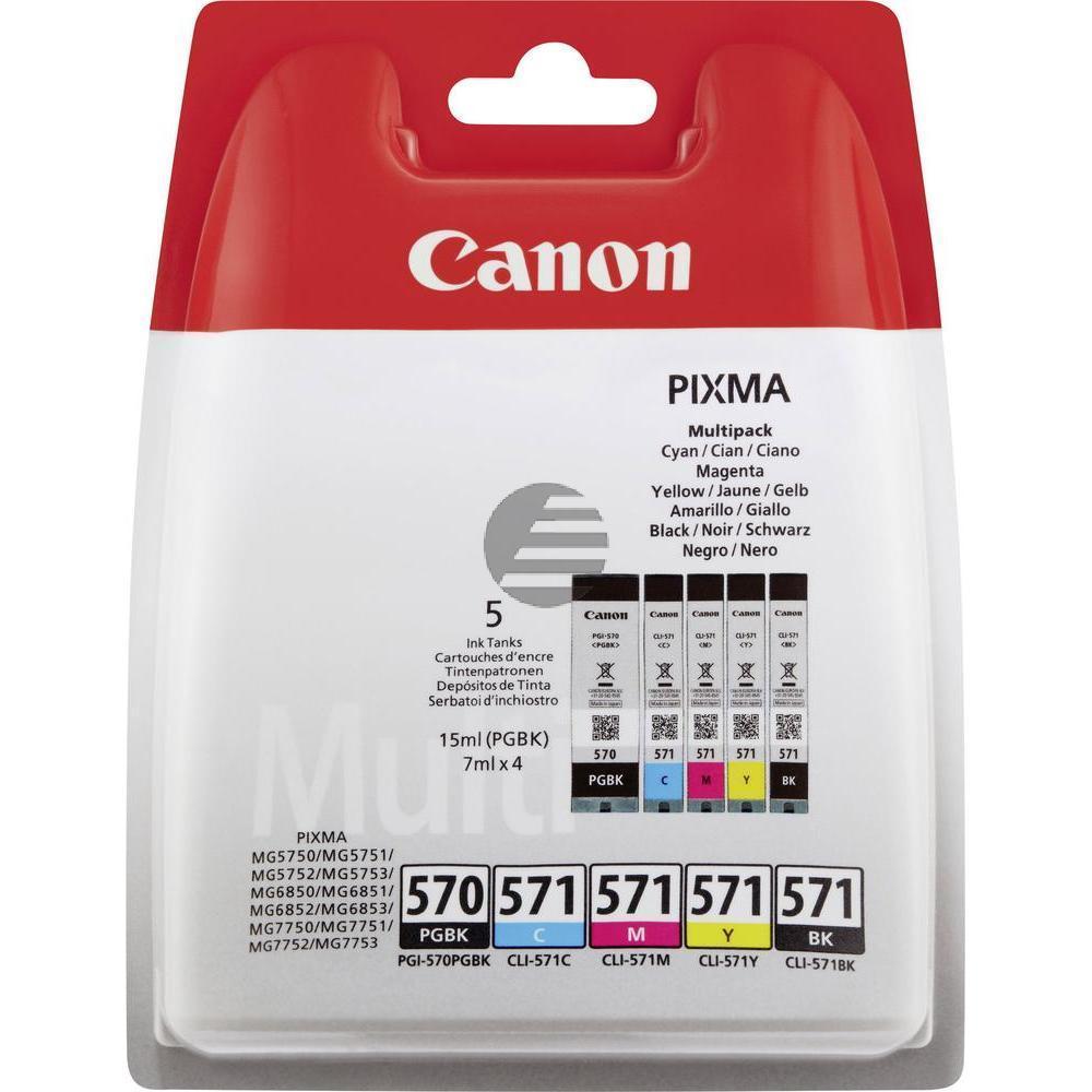 Canon Tintenpatrone gelb, cyan, magenta, schwarz, photo schwarz (0372C004, CLI-570PGBK, CLI-571BK, CLI-571C, CLI-571M, CLI-571Y)