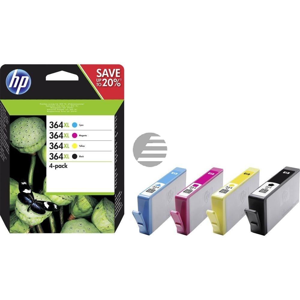 HP Tintenpatrone gelb, cyan, schwarz, magenta HC (N9J74AE, 364XL)