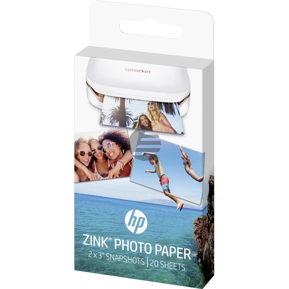 HP Zink Papier (Zink Papier selbstklebend) weiß 20 Blatt 2 x 3 Zoll 290 g/m² (W4Z13A)