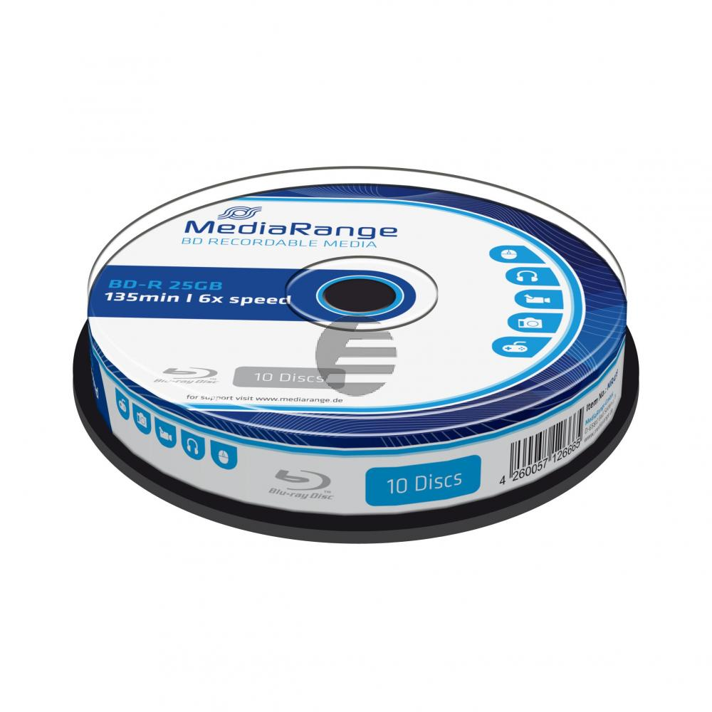 MEDIARANGE BD-R 25GB 6x (10) CB MR499 Cake Box