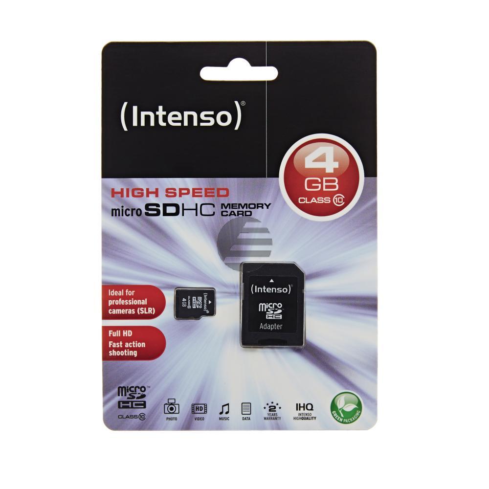 INTENSO MICRO SD SPEICHERKARTE 4GB 3413450 Klasse 10 mit SD Adapter