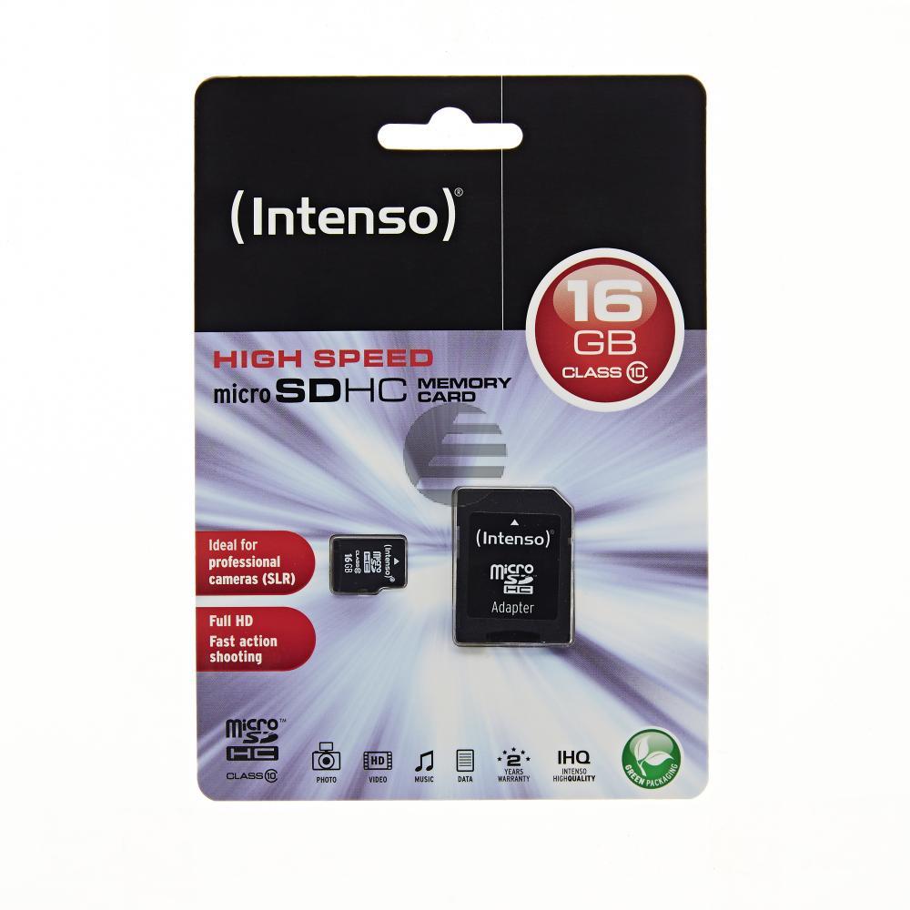 INTENSO MICRO SD SPEICHERKARTE 16GB 3413470 Klasse 10 mit SD Adapter