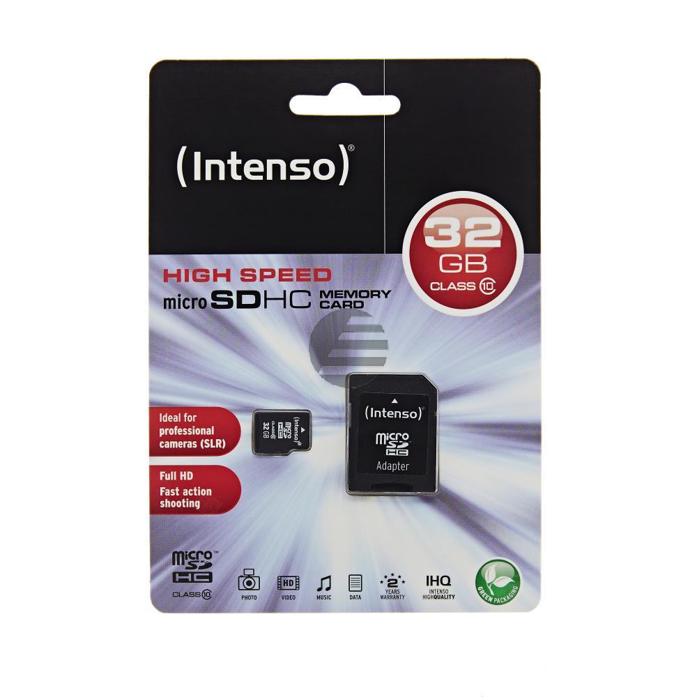 INTENSO MICRO SD SPEICHERKARTE 32GB 3413480 Klasse 10 mit SD Adapter