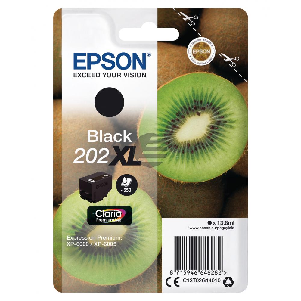 Epson Tintenpatrone schwarz HC (C13T02G14010, 202XL)