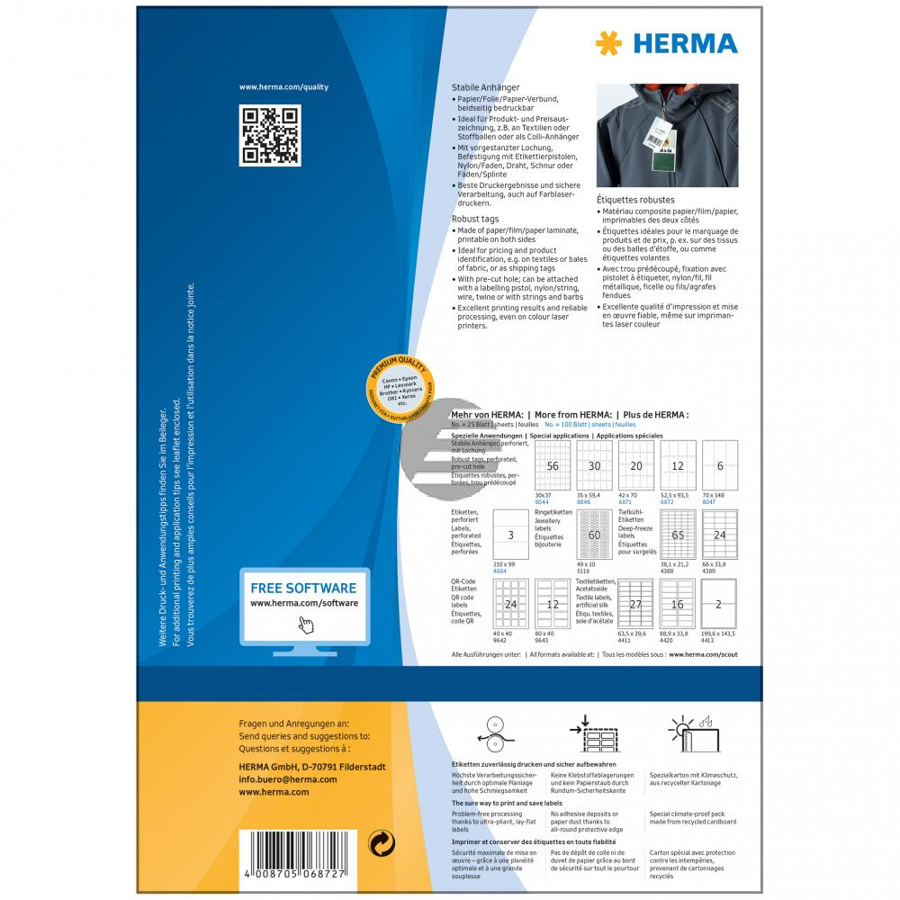Herma Anhänger A4 weiß stabil 52,5 x 93,5 mm Papier/Fol./Pap. Inh.1200 nicht klebend perforiert