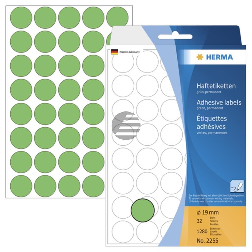 Herma Vielzwecketiketten grün ø 19 mm rund Papier matt Inh.1280 St.