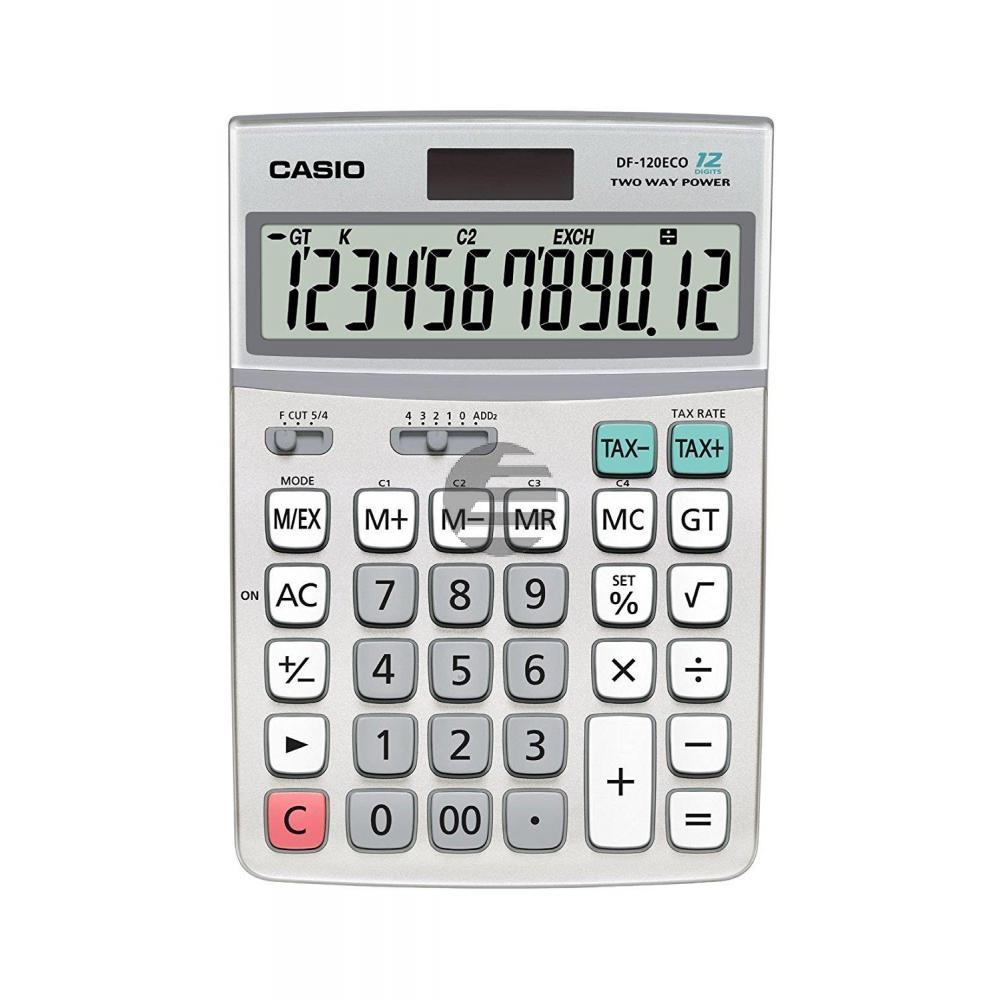 Casio Tischrechner DF-120ECO 12-stellig Solar/Batterie Prozent/Mwst/Wurzel/ Währung