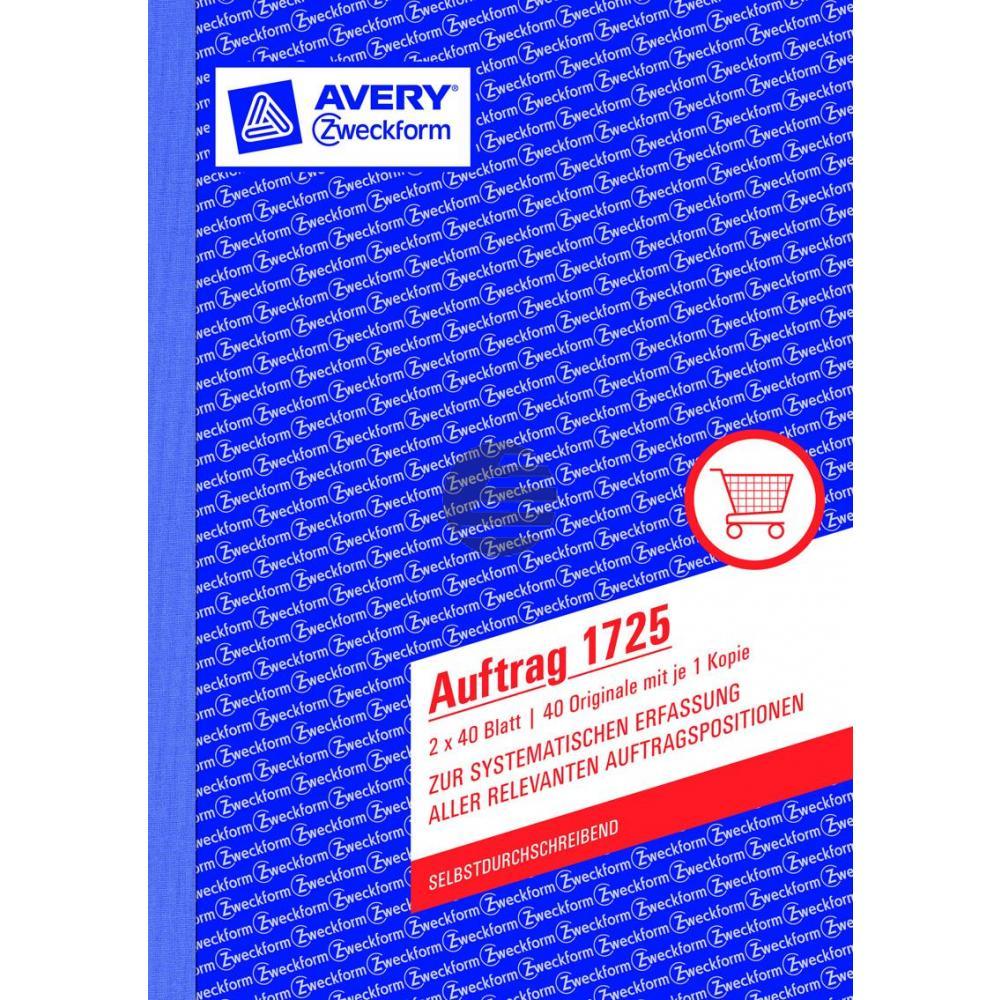 AZ Auftragsbuch 1725 A5 hoch weiß/gelb Inh.2 x 40 Blatt Avery Zweckform