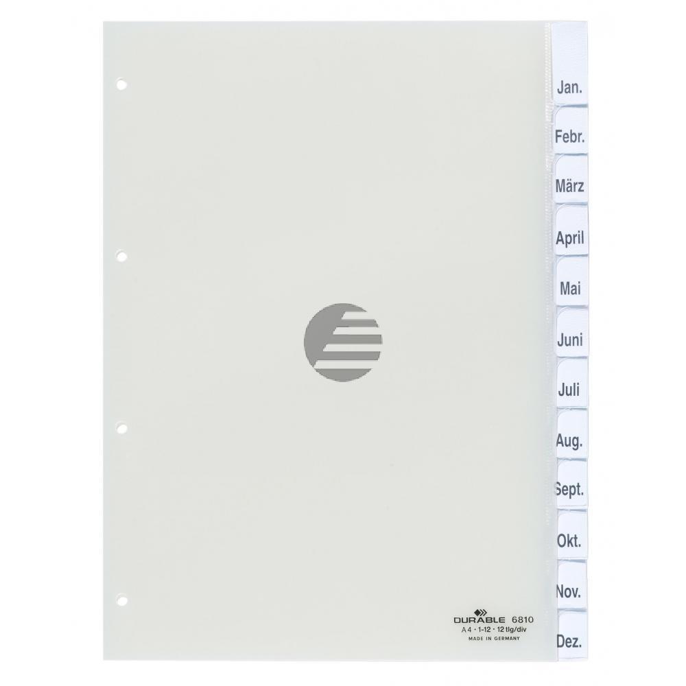 Durable Register A4 hoch PP transparent 12-teilig Jan-Dez