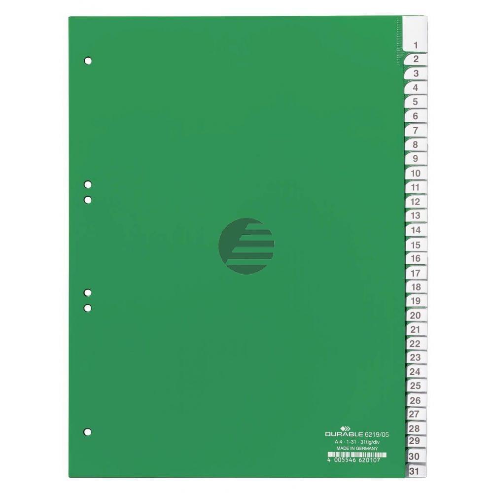 Durable Register A4 hoch PP grün 31-teilig blanko