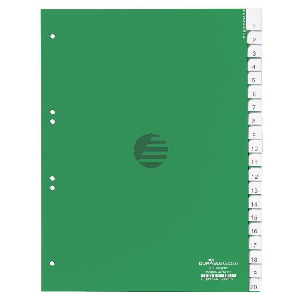 Durable Register A4 hoch PP grün 20-teilig blanko