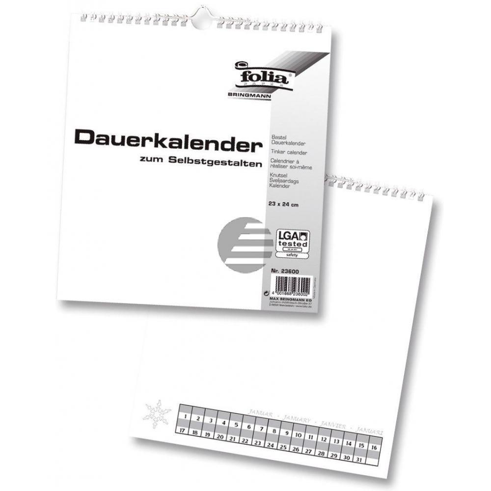 Folia Bastel-Dauerkalender weiß/schwarz 23 x 20 cm