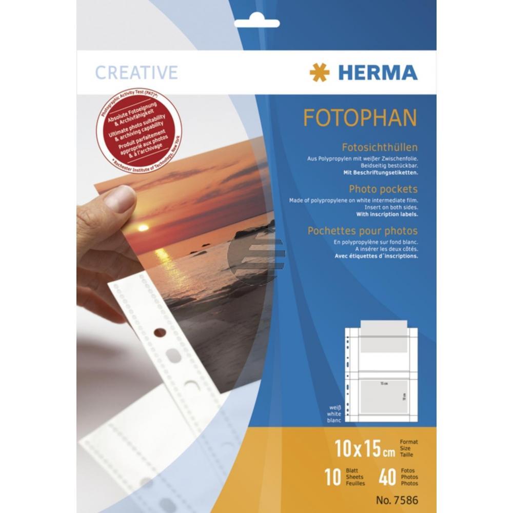 Herma Fotosichthüllen weiß 100 x 150 mm quer Inh.10 Hüllen
