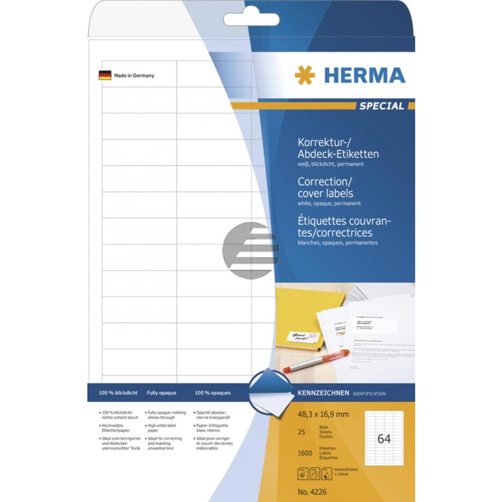 Herma Abdeck-Etiketten weiß 48,3 x 16,9 mm Papier blickdicht Inh. 1600