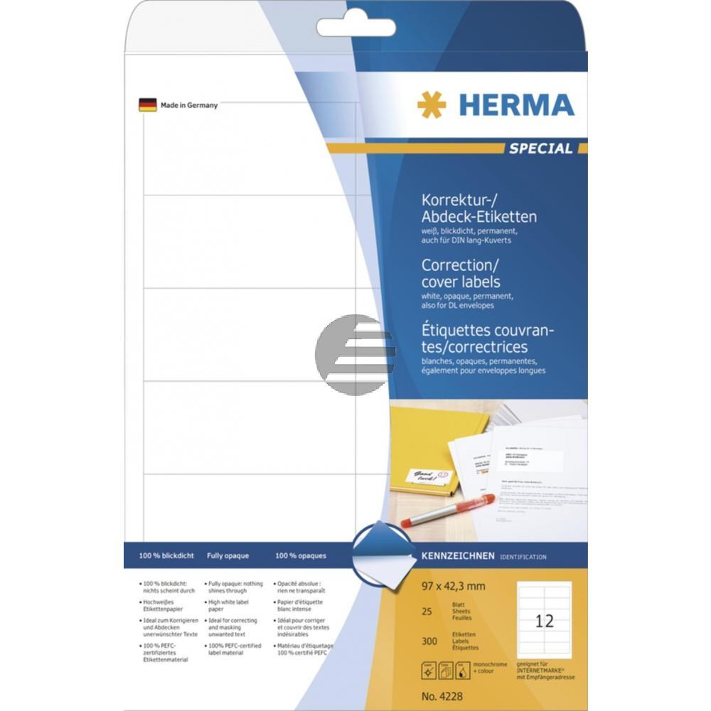 Herma Abdeck-Etiketten weiß 97 x 42,3 mm Papier blickdicht Inh.300