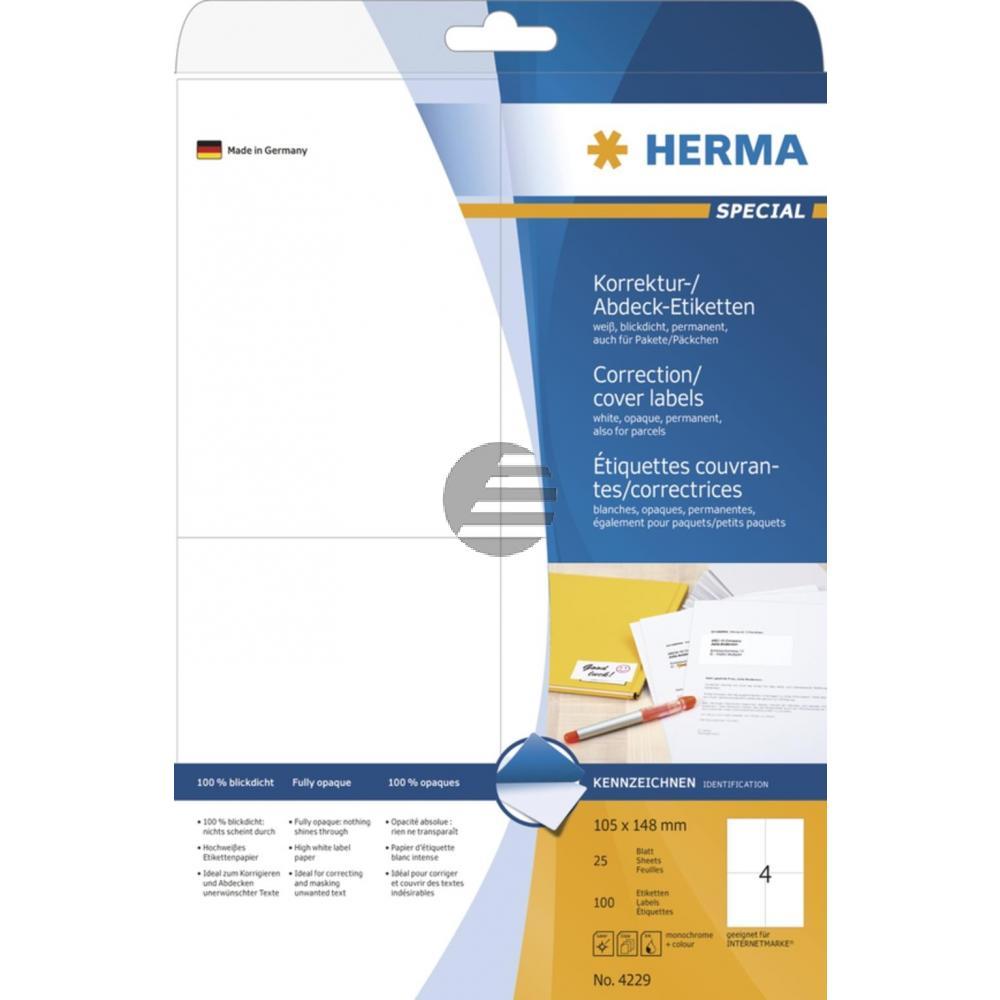 Herma Abdeck-Etiketten weiß 105 x 148 mm Papier blickdicht Inh.100