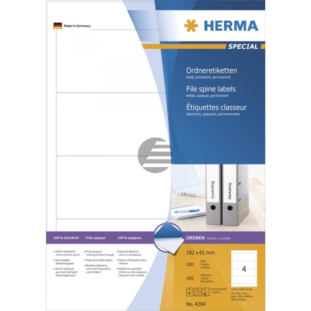 Herma Ordneretiketten A4 weiß 192 x 61 mm Papier matt blickdicht