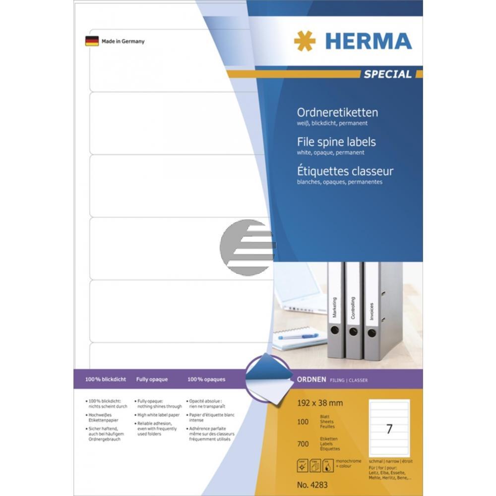Herma Ordneretiketten A4 weiß 192 x 38 mm Papier matt blickdicht