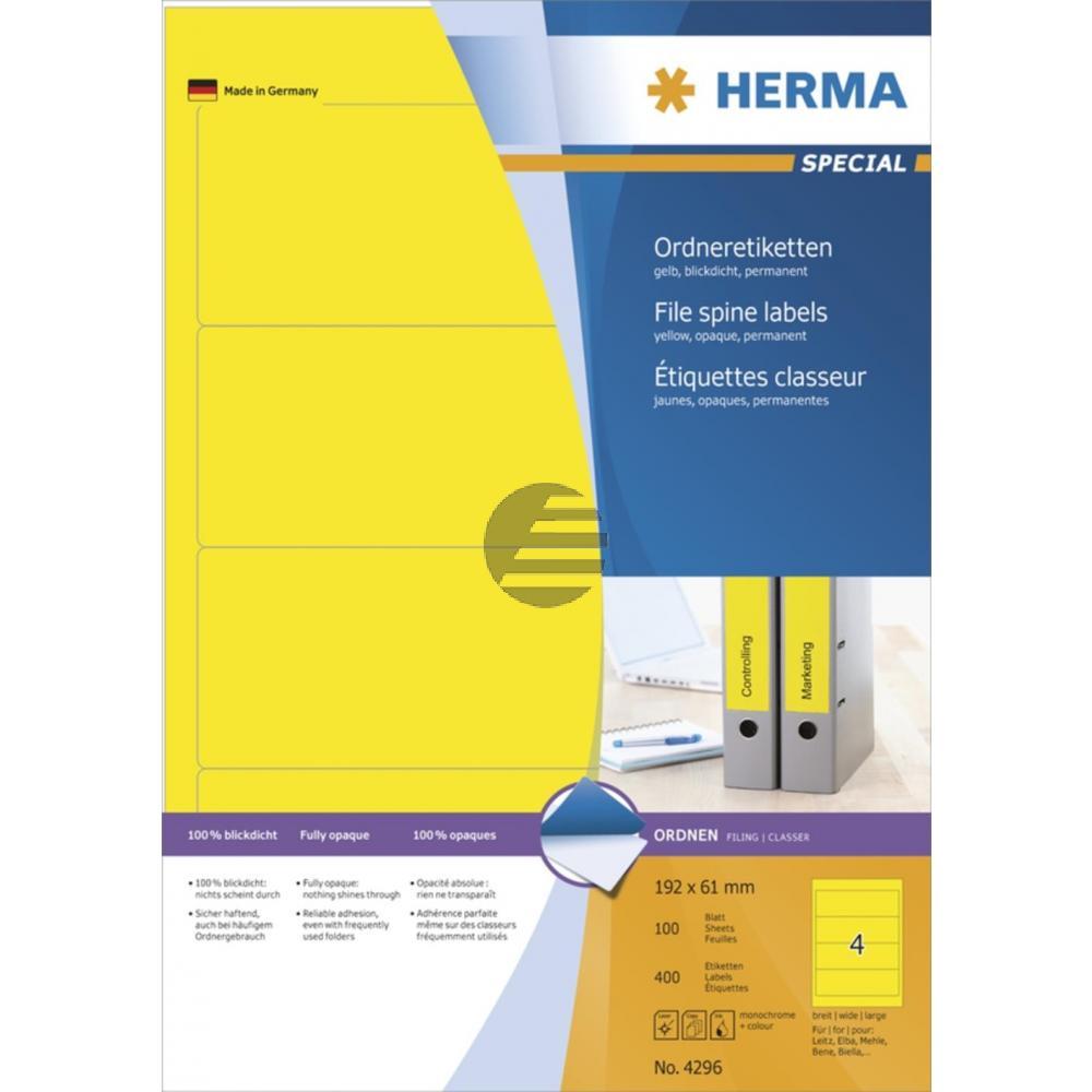Herma Ordneretiketten A4 gelb 192 x 61 mm Papier matt blickdicht