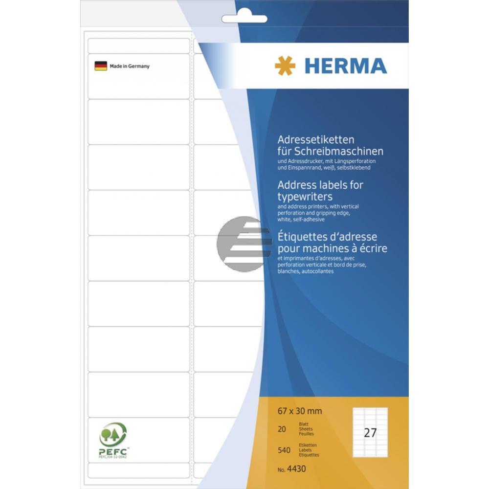 Herma Adressetiketten A4 weiß 67 x 30 mm Papier matt Inh.540 für Schreibmaschinen