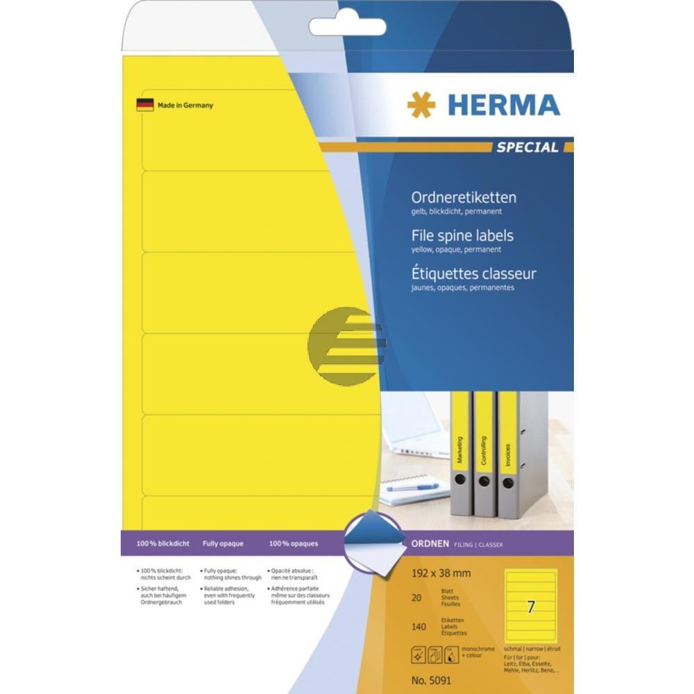 Herma Ordneretiketten gelb 192 x 38 mm Papier blickdicht Inh.140 St