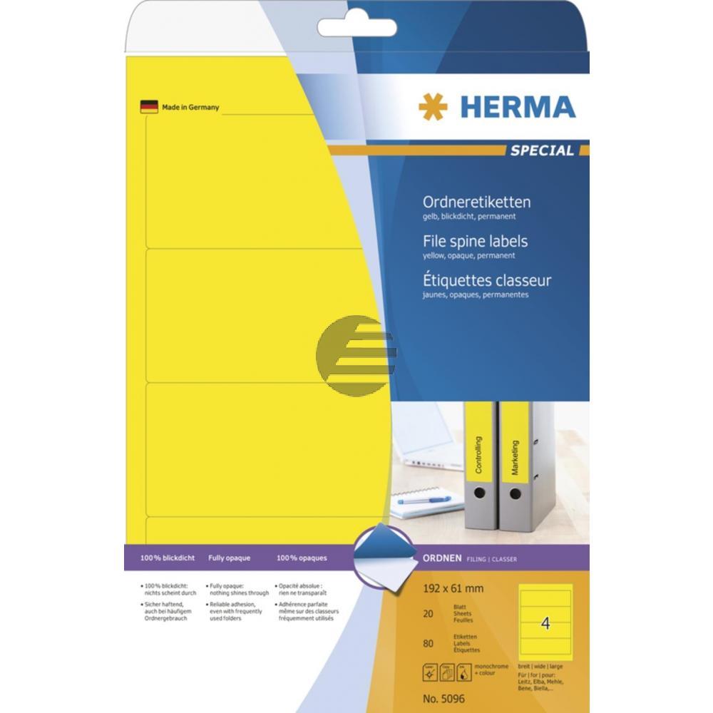 Herma Ordneretiketten gelb 192 x 61 mm Papier blickdicht Inh.80 St.