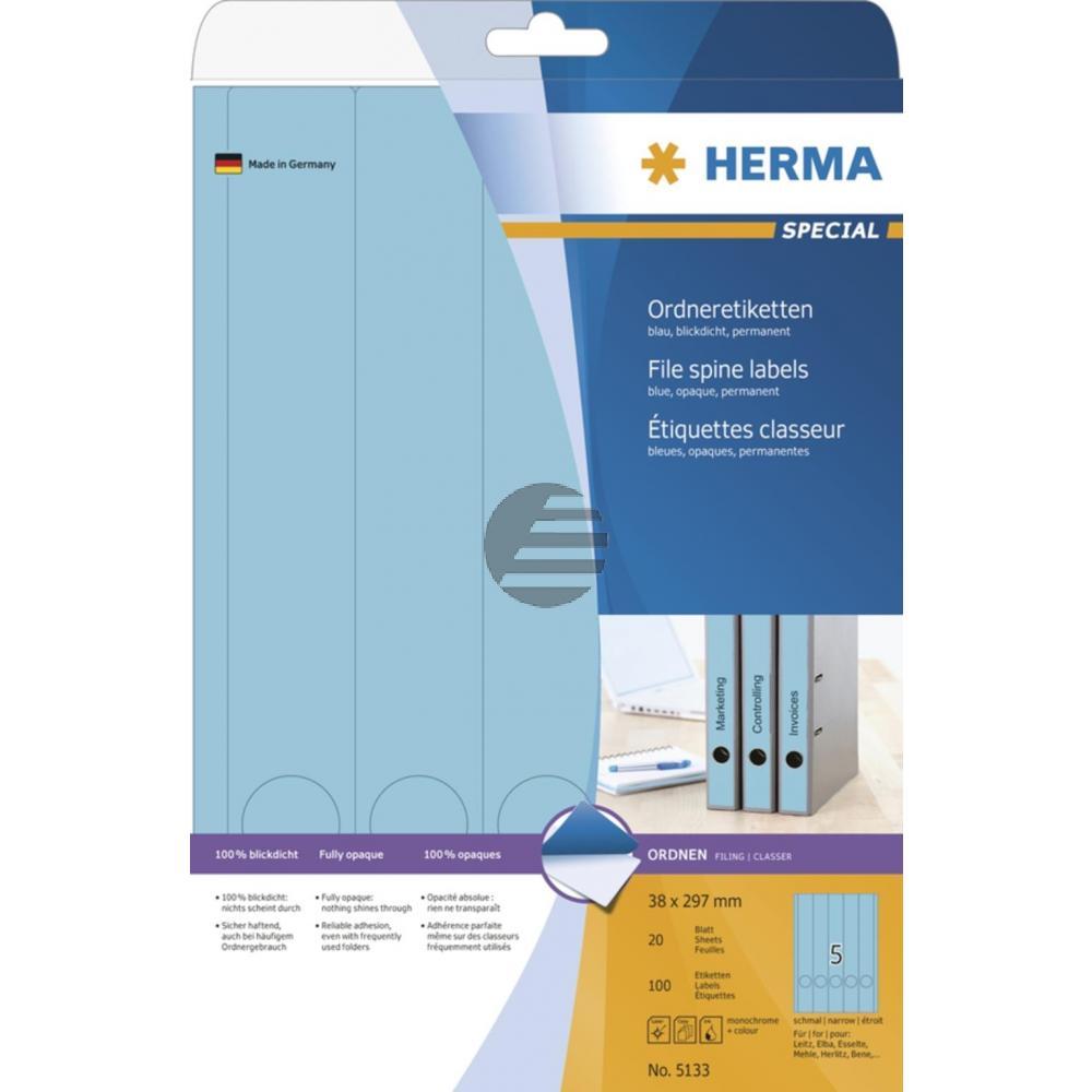 Herma Ordneretiketten blau 38 x 297 mm Papier blickdicht Inh.100 St