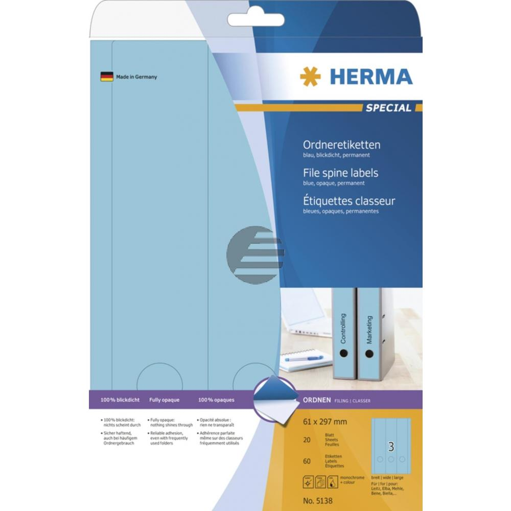 Herma Ordneretiketten blau 61 x 297 mm Papier blickdicht Inh.60 St.