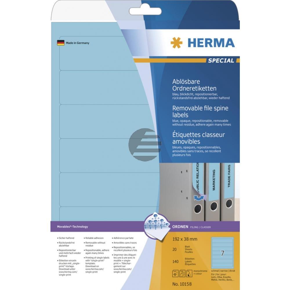 Herma Ordneretiketten blau 192 x 38 mm ablösbar Papier Inh.140 St.