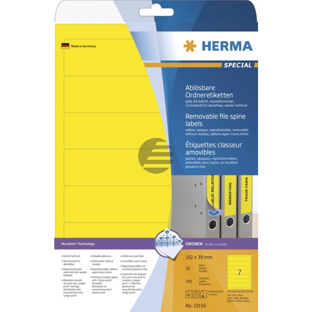 Herma Ordneretiketten gelb 192 x 38 mm ablösbar Papier Inh.140 St.