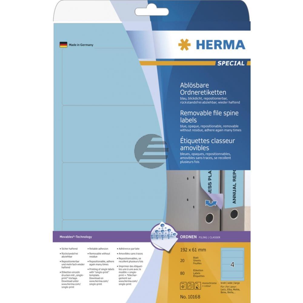 Herma Ordneretiketten blau 192 x 61 mm ablösbar Papier Inh.80 St.