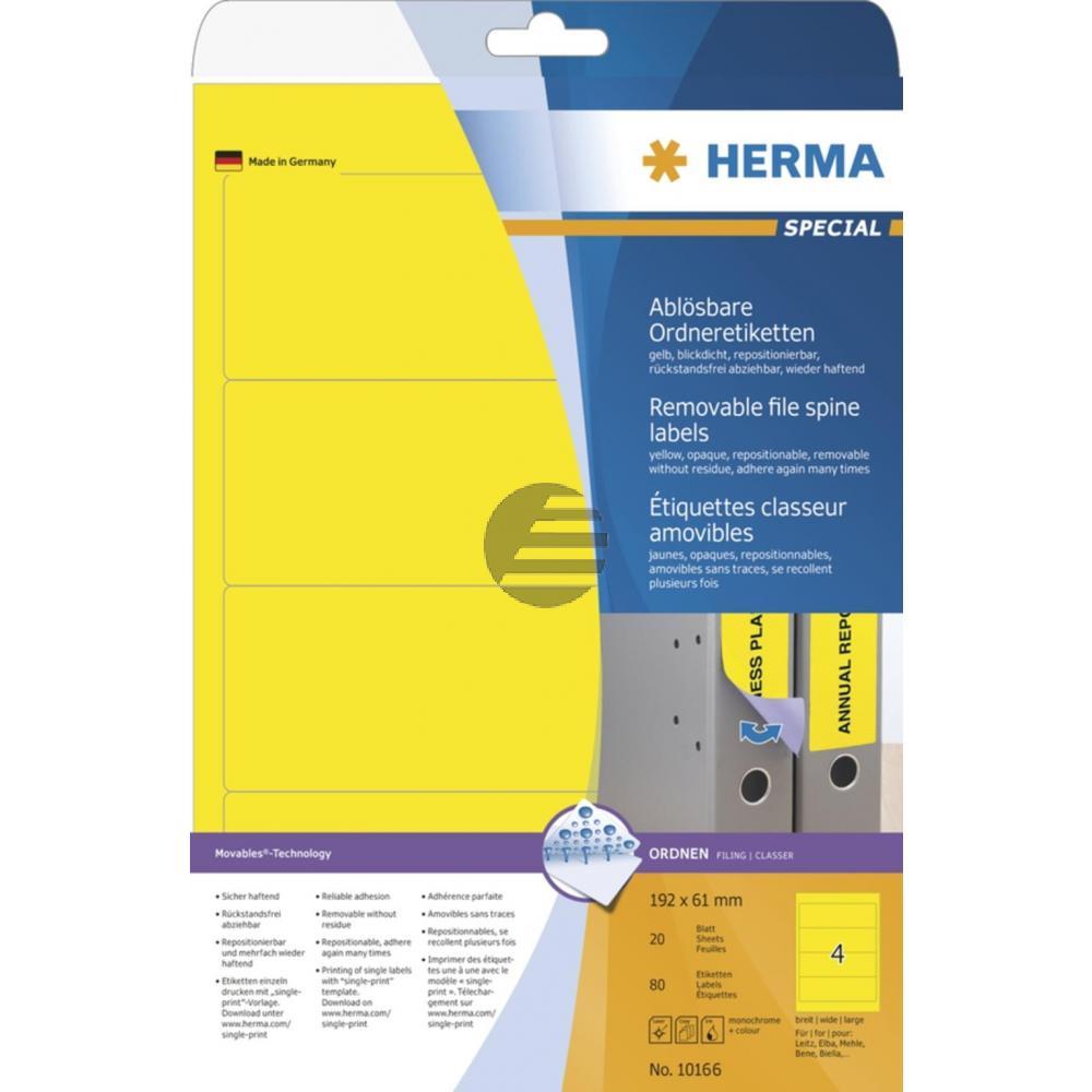 Herma Ordneretiketten gelb 192 x 61 mm ablösbar Papier Inh.80 St.