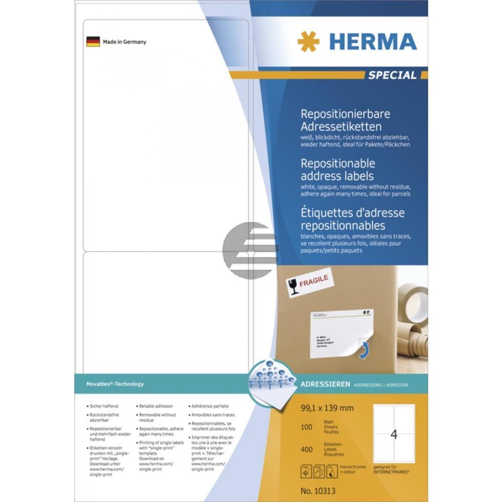 Herma Adressetiketten A4 weiß 99,1 x 139 mm ablösbar Papier Inh.400