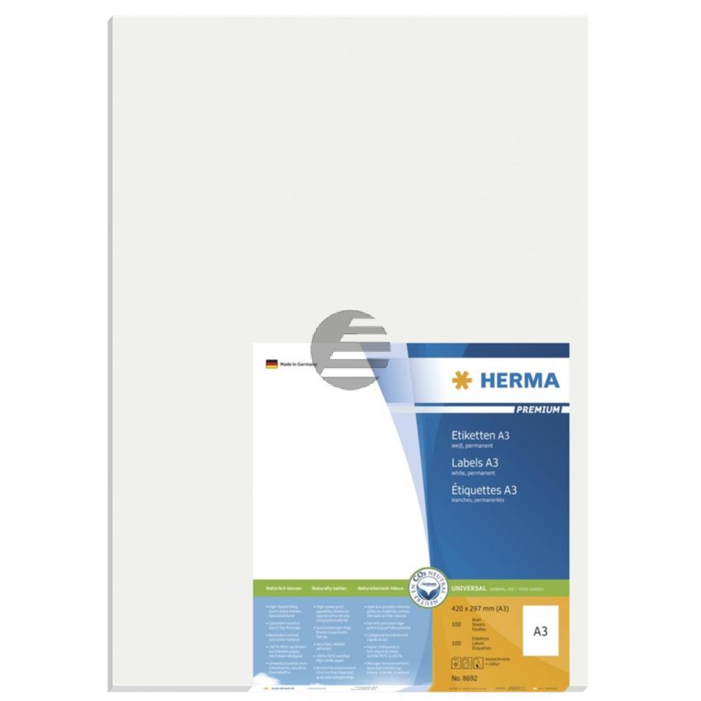 Herma A3-Etiketten weiß Premium 297 x 420 mm Papier matt Inh.100