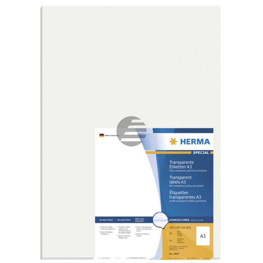 Herma A3-Etiketten transparent 297 x 420 mm Folie glänzend Inh.50
