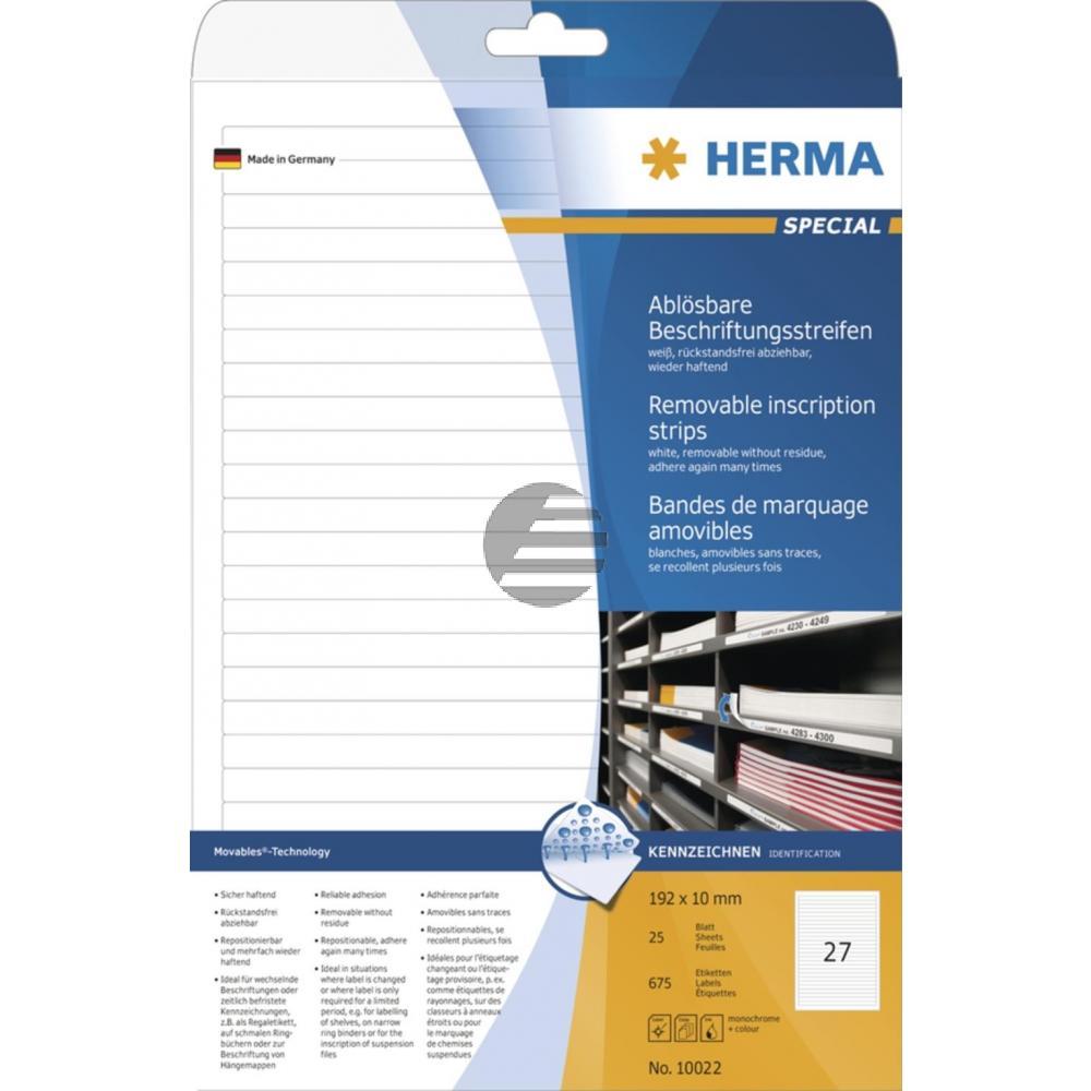 Herma Beschriftungsstreifen A4 192 x 10 mm weiß Papier matt Inh.675 ablösbar