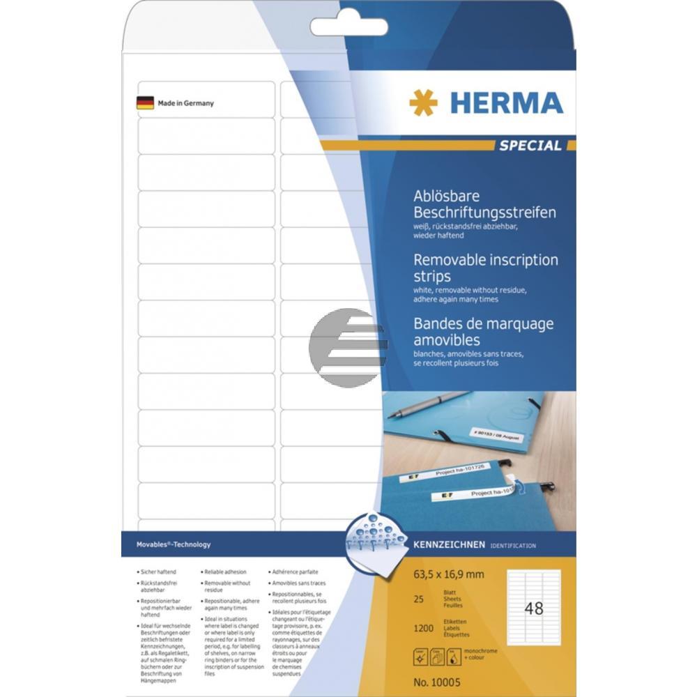 Herma Beschriftungsstreifen A4 63,5 x 16,9 mm weiß Papier matt Inh.1200 ablösbar