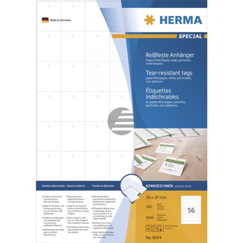Herma Anhänger A4 weiß stabil 30 x 37 mm Papier/Folie/Papier Inh.5600 nicht klebend perforiert