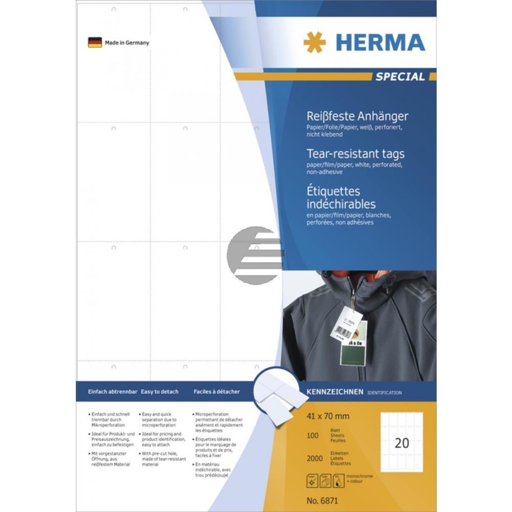 Herma Anhänger A4 weiß stabil 42 x 70 mm Papier/Folie/Papier Inh.2000 nicht klebend perforiert