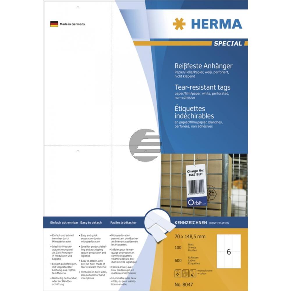 Herma Anhänger A4 weiß stabil 70 x 148,5 mm Papier/Folie/Pap. Inh.600 nicht klebend perforiert