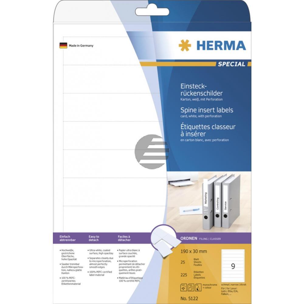 Herma Einsteckrückenschilder A4 weiß 30 x 190 mm Karton Inh.225 St. nicht klebend