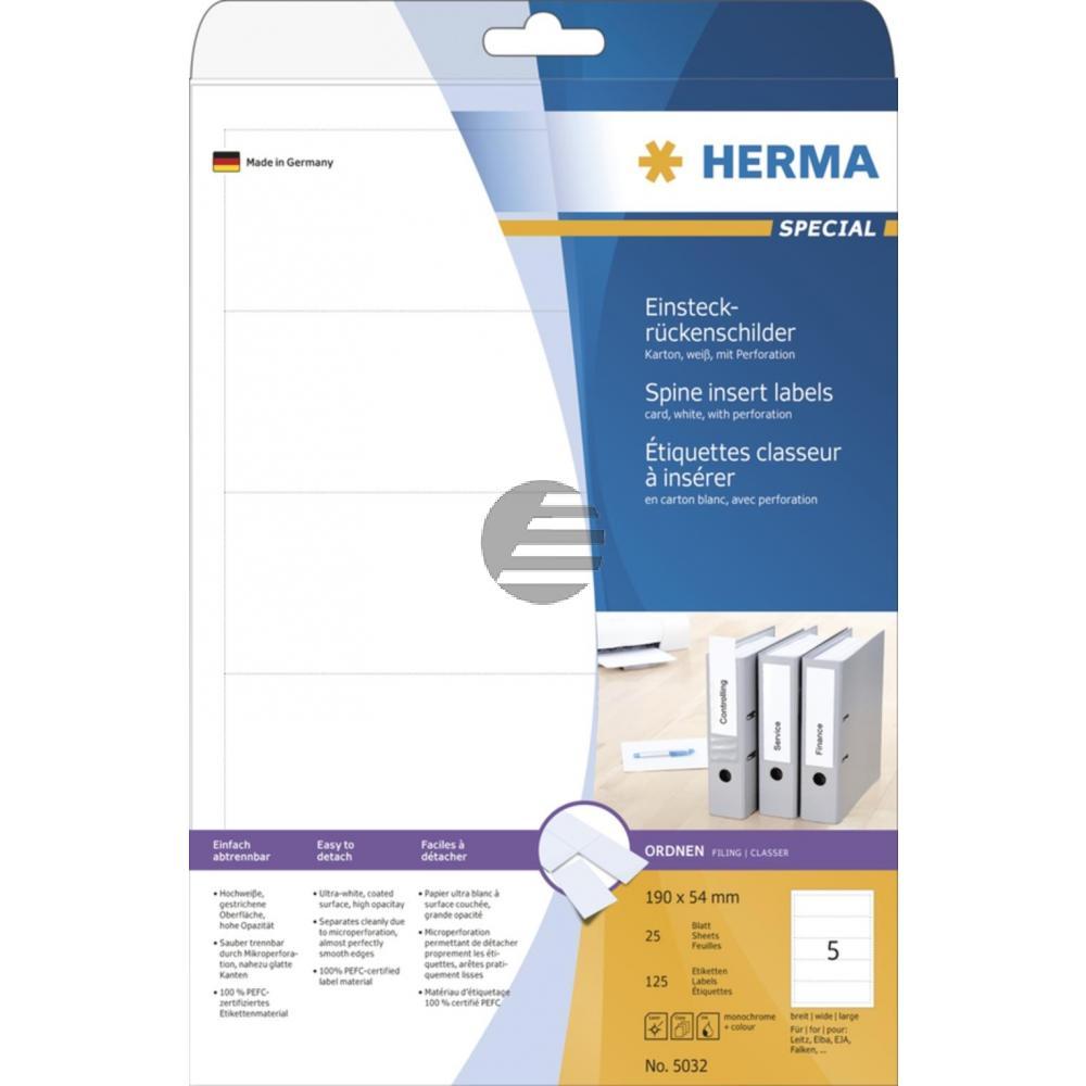 Herma Einsteckrückenschilder A4 weiß 54 x 190 mm Karton Inh.125 St. nicht klebend