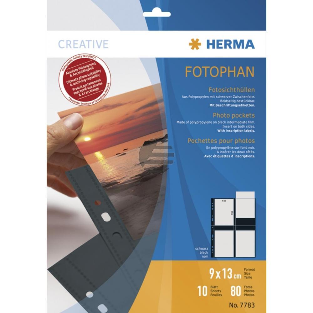 Herma Fotosichthüllen schwarz 90 x 130 mm hoch Inh.10 Hüllen