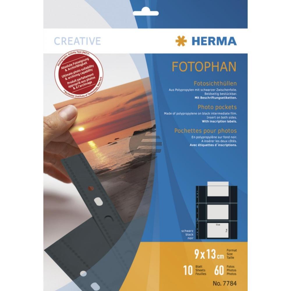 Herma Fotosichthüllen schwarz 90 x 130 mm quer Inh.10 Hüllen