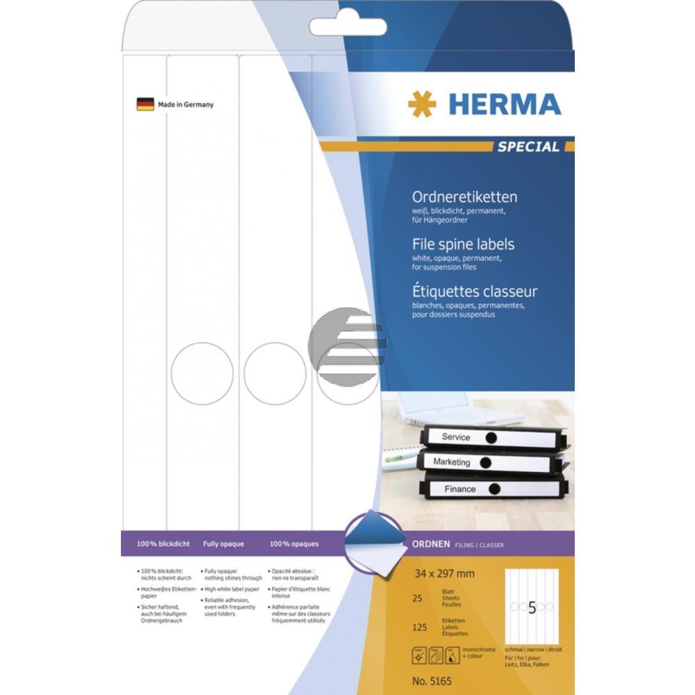 Herma Hängeordneretiketten A4 weiß 34 x 297 mm Papier matt Inh.125 St. blickdicht