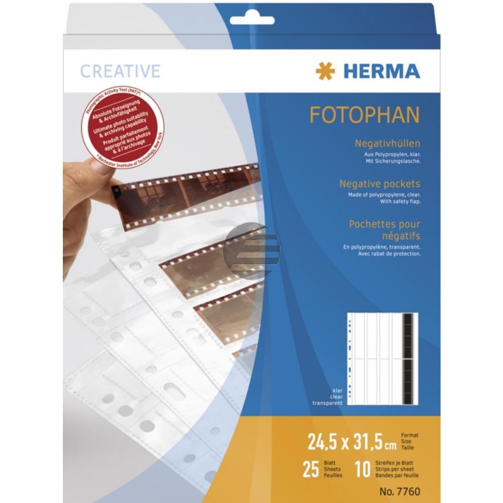 Herma Negativhüllen PP klar für 10 x 4 Streifen Inh.25 St.