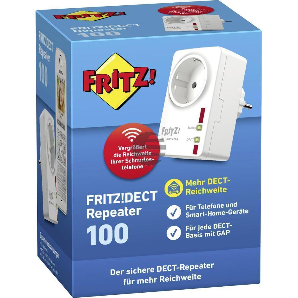 AVM Fritz!DECT Repeater 100 DECT-Reichweitenerweiterung, integrierte Steckdose