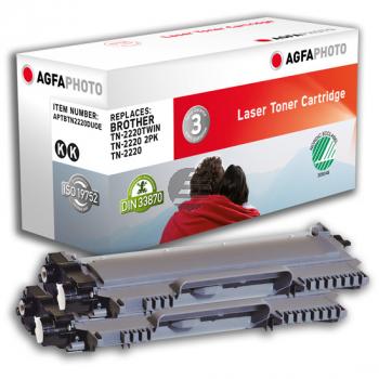 Agfaphoto Toner-Kit 2 x schwarz (APTBTN2220DUOE) ersetzt TN-2220