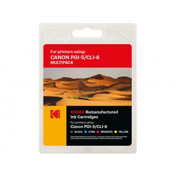 Kodak Tintenpatrone gelb, cyan, magenta, schwarz, photo schwarz (185C000826) ersetzt CLI-8C, CLI-8M, CLI-8Y, CLI-8BK
